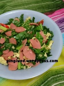 caisim cah bawang putih + sosis